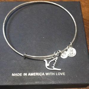 Alex and Ani Silver Dove Charm Bracelet.